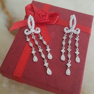 Jewelry - 14k white gold plated  Dangling CZ Earrings